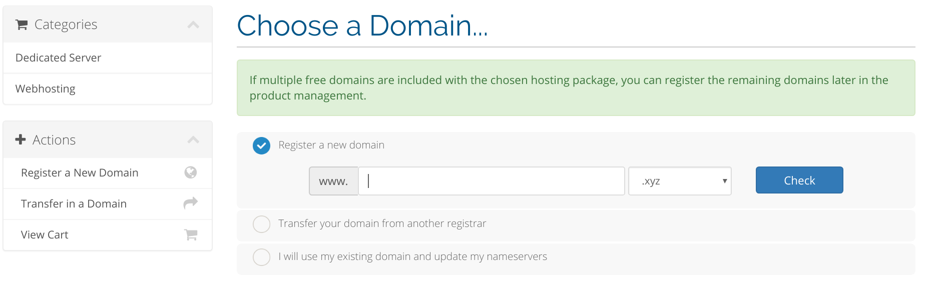 Template Changes (optional) - Multiple Free Domains - WHMCS