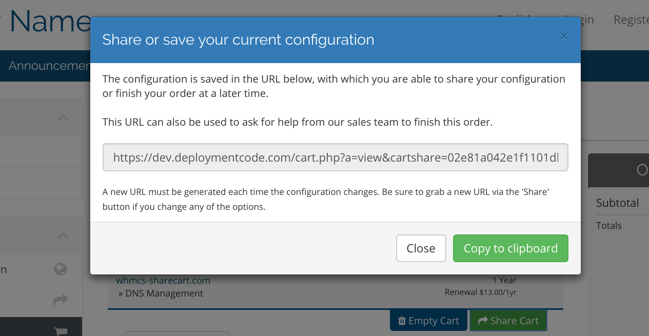 Features - Share WHMCS Cart - Deploymentcode Wiki
